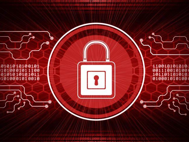 cadeado em fundo vermelho simula proteção de dados