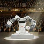 robô regendo uma orquestra